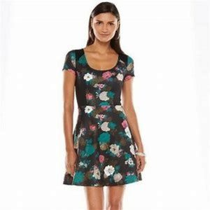 New Elle Fit and Flare Winter Garden Floral Dress